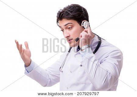 Young doctor with phone headset isolated on white