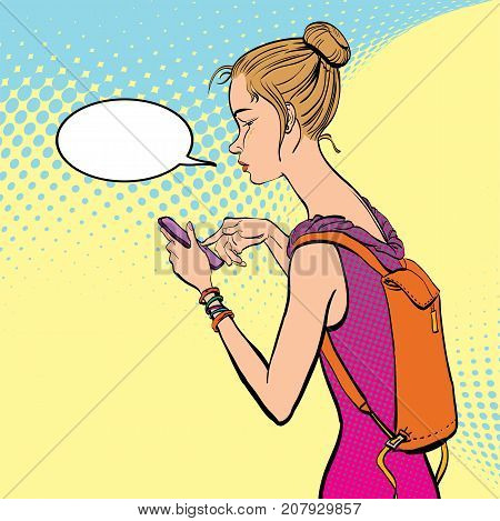 Illustration of a girl Holding a Mobile Phone. A girl texting SMS. A girl sending SMS.
