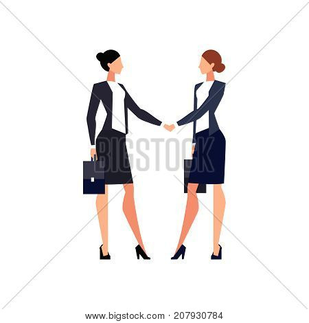 Businesswomen shake hands isolated on white background. Businesswomen came to an agreement and completed the deal with a handshake. Template for banner or infographics. Vector illustration.