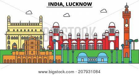 India, Lucknow, Hinduism. City skyline, architecture, buildings, streets, silhouette, landscape, panorama, landmarks. Editable strokes. Flat design line vector illustration concept. Isolated icons