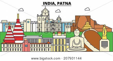 India, Patna, Hinduism. City skyline, architecture, buildings, streets, silhouette, landscape, panorama, landmarks. Editable strokes. Flat design line vector illustration concept. Isolated icons