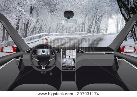 Self driving car without driver on a winter road. Indoor view.