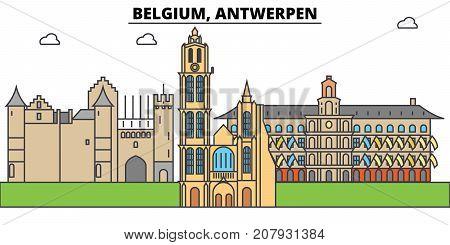Belgium, Antwerpen. City skyline, architecture, buildings, streets, silhouette, landscape, panorama, landmarks. Editable strokes. Flat design line vector illustration concept. Isolated icons