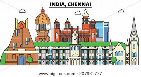 Chennai, India, Hinduism. City skyline, architecture, buildings, streets, silhouette, landscape, panorama, landmarks. Editable strokes. Flat design line vector illustration concept. Isolated icons