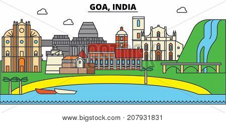 Goa, India, Hinduism. City skyline, architecture, buildings, streets, silhouette, landscape, panorama, landmarks. Editable strokes. Flat design line vector illustration concept. Isolated icons