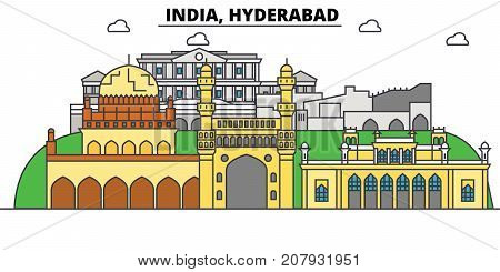 Hyderabad, India, Hinduism. City skyline, architecture, buildings, streets, silhouette, landscape, panorama, landmarks. Editable strokes. Flat design line vector illustration concept. Isolated icons