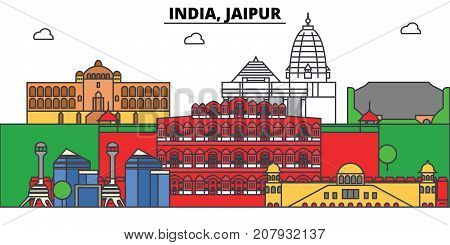 India, Jaipur, Hinduism. City skyline, architecture, buildings, streets, silhouette, landscape, panorama, landmarks. Editable strokes. Flat design line vector illustration concept. Isolated icons