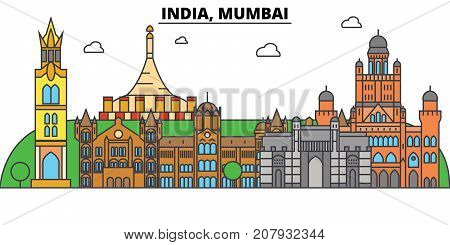 India, Mumbai, Hinduism. City skyline, architecture, buildings, streets, silhouette, landscape, panorama, landmarks. Editable strokes. Flat design line vector illustration concept. Isolated icons