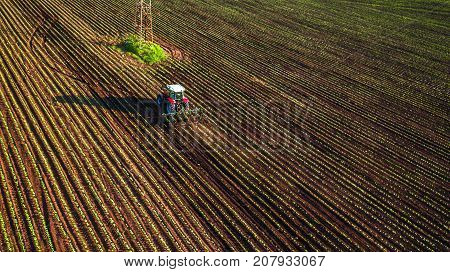 Tractor cultivating field at spring, aerial view