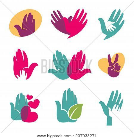 Hand logo template of helping hands or hand in hand with heart, leaf or dove bird. Vector isolated icons set for children and family care charity organization or company and brand identity emblem