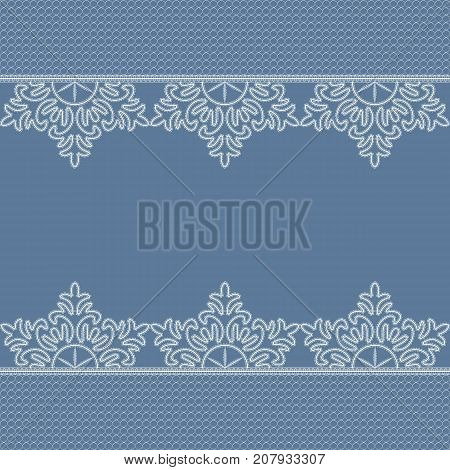 White lace snowflake pattern with a space for the text. Lace background. Vector illustration