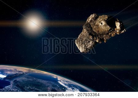 Meteor Running In The Starry Sky, Toward The Planet Earth