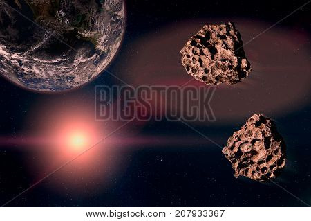 Two Meteors Running In The Starry Sky, Toward The Planet Earth