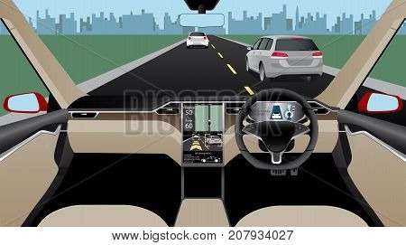 Self driving car without driver on a road. Indoor view. Vector illustration.