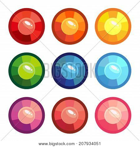 A set of colored round gems. vector illustration isolated on white background