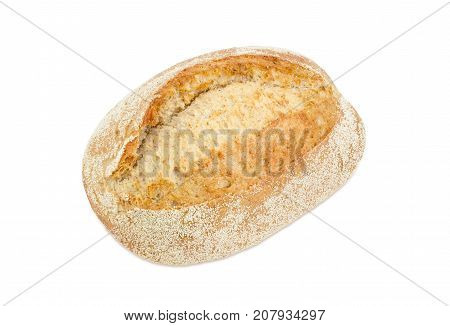 Whole loaf of the wheat sourdough hearth bread on a white background