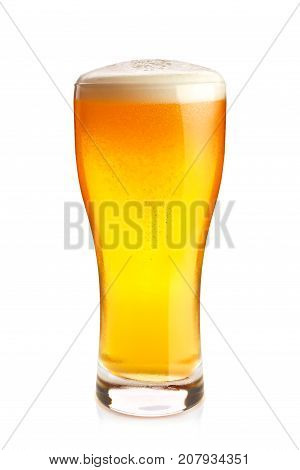 Goblet of fresh cold beer, isolated on white background.