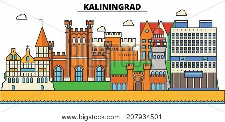 Russia, Kaliningrad, prussia. City skyline, architecture, buildings, streets, silhouette, landscape, panorama, landmarks. Editable strokes. Flat design line vector illustration concept. Isolated icons