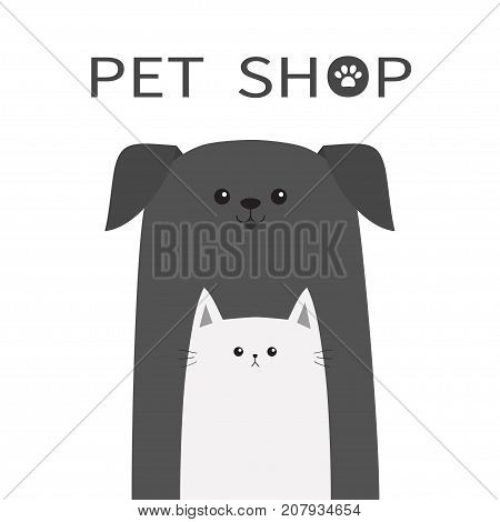 Pet shop icon. Dog and cat animal. Happy pets set. Paw print. Veterinary design element. Cute cartoon funny character. Friends forever. Flat. White background. Isolated. Vector illustration
