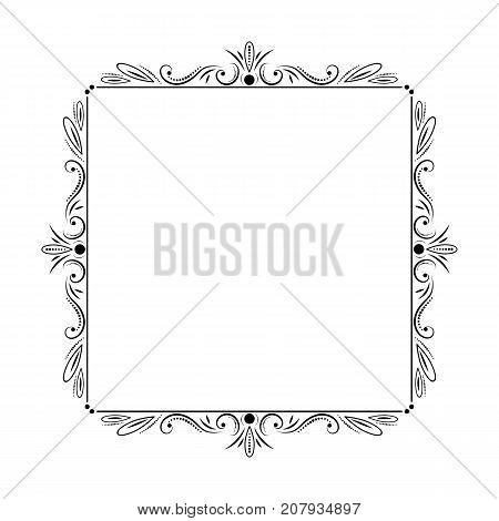 stylish elegant vintage square vector frame with monograms and vegetation