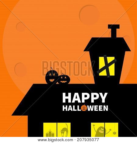 Happy Halloween. Haunted house roof attic loft. Light on boarded-up windows. Cat arch back. Monster spider Pumpkin Candle. Big moon Funny cartoon character Orange background. Flat design Vector