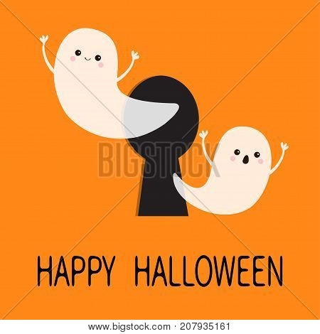 Black keyhole. Flying ghost spirit set. Happy Halloween. Two scary white ghosts key hole. Cute cartoon spooky character. Face frightening hands. Orange background. Greeting card. Flat design. Vector