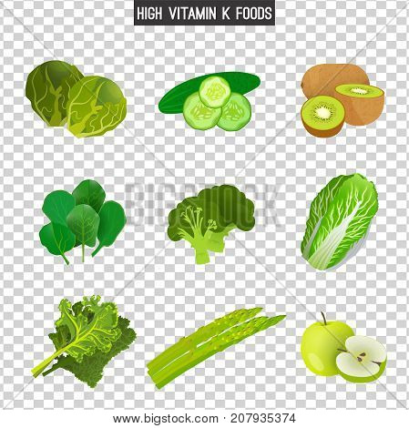 High vitamin K foods. Vector illustration isolated on a transparent background