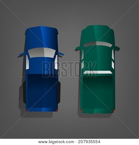 Blue and green pick-up trucks isolated on a dark grey background. Waggon top view. Vector illustration in a flat style.