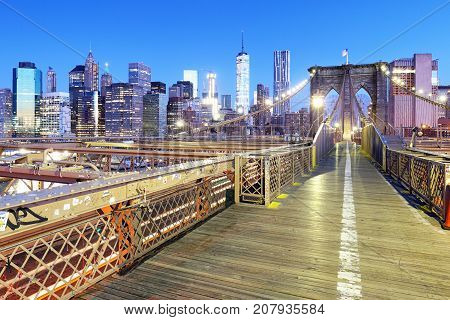 New York City with brooklyn bridge Lower Manhattan USA