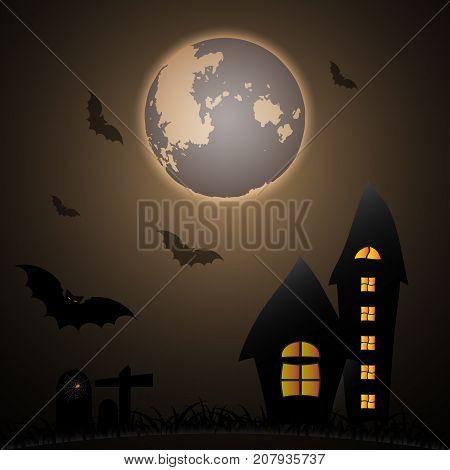 Mystery Halloween moon night scene stock vector