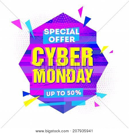 Template design geometric web banner for cyber monday offer. Promotion design in glitch style with geometric particle for cyber sale.