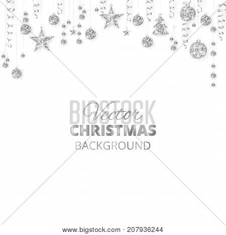Holiday background with sparkling Christmas glitter ornaments. Silver fiesta border, festive garland with hanging balls and ribbons isolated on white. Great for New year party posters, headers.