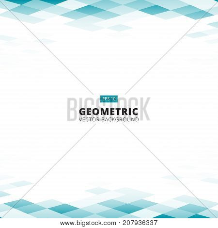 Abstract geometric square blue and white color pattern background perspective with copy space. Vector illustration
