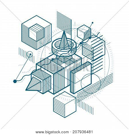 Abstract background with isometric elements vector linear art with lines and shapes. Cubes hexagons squares rectangles and different abstract elements.