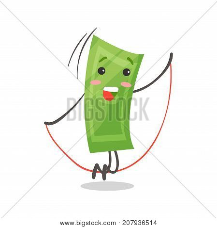 Cute smiling paper money humanized character jumping rope, money and finance concept cartoon vector Illustration on a white background