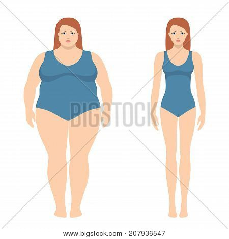 Vector illustration of fat and slim woman in flat style. Weight loss concept, before and after. Obese and normal female body.