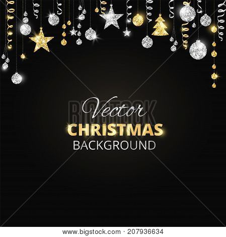 Holiday background with sparkling Christmas glitter ornaments. Gold and silver fiesta border, garland with hanging balls and ribbons on black. Great for New year party posters, headers.