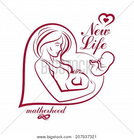 Elegant pregnant woman body silhouette drawing. Vector illustration of mother-to-be fondles her belly. Obstetrics and gynecology clinic advertising banner