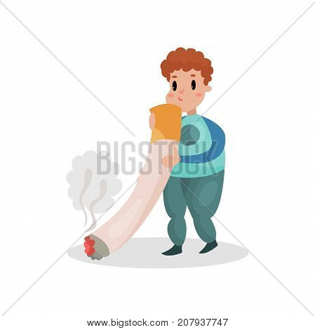 Man smoking giant cigarette, harmful habit and addiction cartoon vector Illustration on a white background