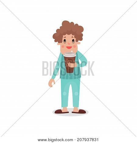 Young man drinking giant cup of coffee, harmful habit and addiction cartoon vector Illustration on a white background