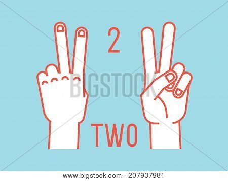 Count on fingers. Number two. Gesture. Stylized hands with index and middle fingers up. Vector illustration with text on blue background. Orange lines, white silhouette. Icons. Logo. Signs. 2.