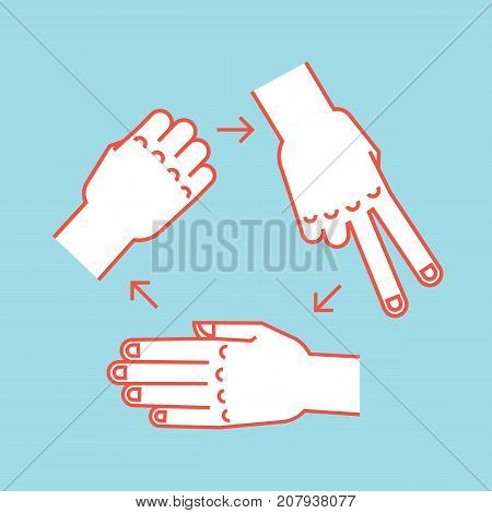 Rock, Scissors, Paper. Gestures. Stylized hands in form of objects for hand game. Vector illustration on dark background. Orange-red silhouette. Icon. Rules. Backhand.