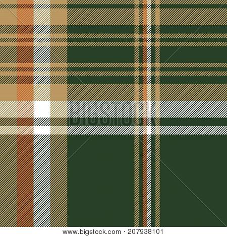 Green tartan check plaid seamless pattern. Vector illustration.