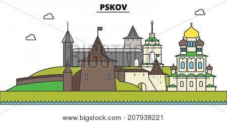 Russia, Pskov. City skyline, architecture, buildings, streets, silhouette, landscape, panorama, landmarks. Editable strokes. Flat design line vector illustration concept. Isolated icons poster