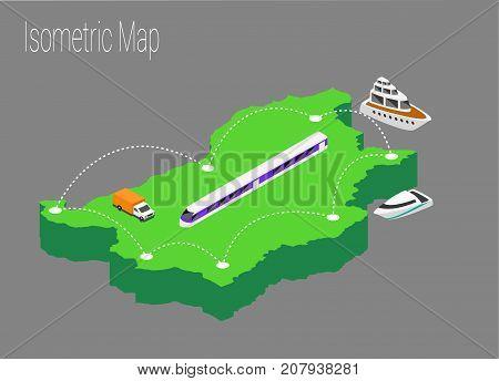 Map Bulgaria isometric concept. 3d flat illustration of Map Bulgaria.