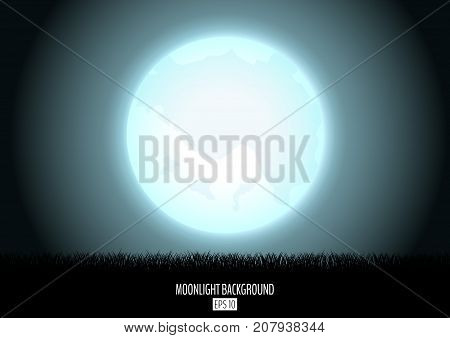 Midnight fool moon abstract background with black grass silhouette. Night moon over the horizon. Evening dawning background. Horizontal orientation vector illustration.
