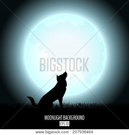 Wolf howls to midnight fool moon abstract background with black grass silhouette. Night moon over the horizon. Evening dawning background. Vector illustration.