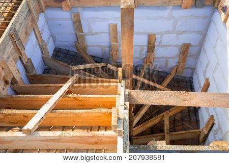 Steel reinforcement for the concrete stairs of new house