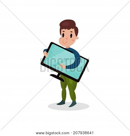 Young man holding computer monitor, harmful habit and addiction cartoon vector Illustration on a white background