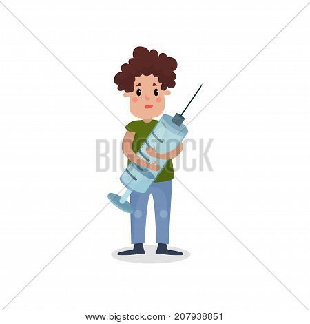 Young man holding giant syringe, harmful habit and addiction cartoon vector Illustration on a white background